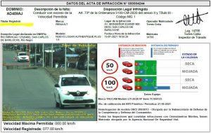 Ejemplo de multa por conducir a 77 km/h