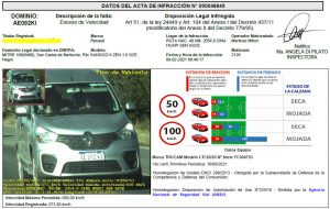 Ejemplo de multa por conducir a 73 km/h